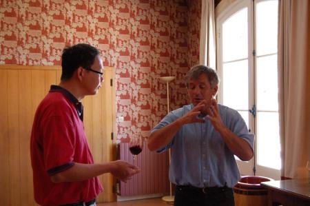 With Remy Erdange, maitre'd chai of Domaine de Chevalier